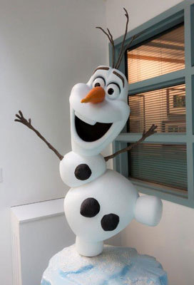 Fun sculpture of snowman Olaf at the studio