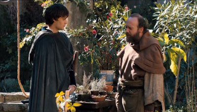 Douglas in a scene with Paul Giamatti as the friar