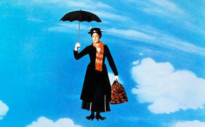 Mary Poppins arriving in town
