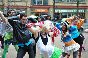 A flash mob outside the Vancouver Public Library in 2011