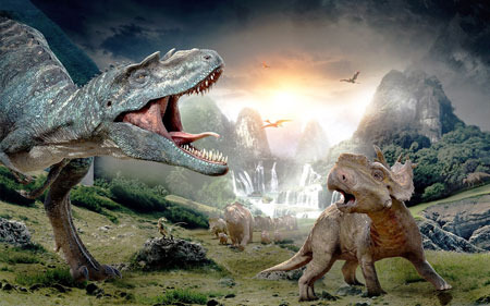 A scary Gorgosaurus attacks Patchi and the herd