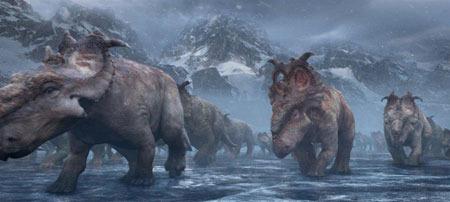Scowler leads the herd across dangerous ice