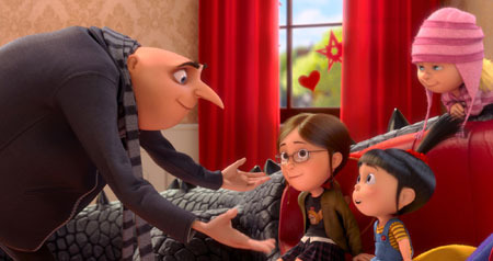 Gru with his daughters