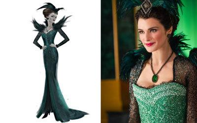 Evanora Emerald City costume with sketch