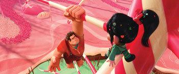 Ralph and Vanellope von Schweetz in the video game world of Sugar Rush