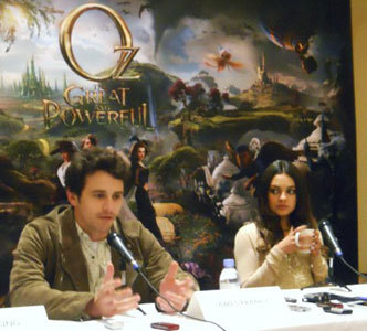 Mila with James Franco at our interview