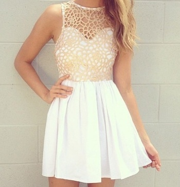 Fashion: White Dress with Mesh Overlay