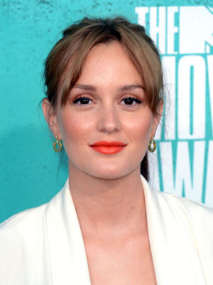 Leighton Meester works the orange lip