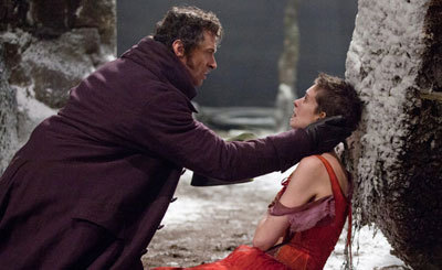 Valjean (Hugh) tries to rescue Fantine (Anne)