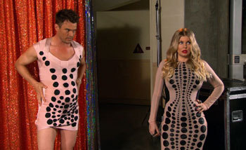 Josh Duhamel accidentally finds himself wearing the same dress as his wife Fergie