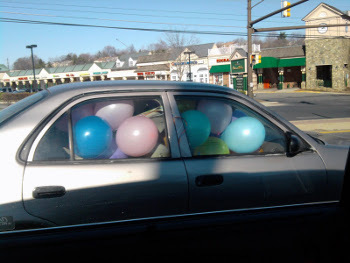 Talk about air travel! Fill a car with balloons.