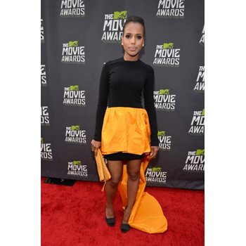 Kerry Washington in an unflattering, ill-fitting orange and black number