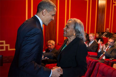 President Obama greets the real Mrs. Robinson