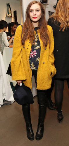 Elizabeth adds a vibrant yellow coat for casual cool style.