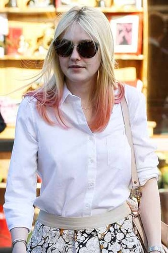 Add some cool color to your hair with a dip dye like Dakota Fanning's