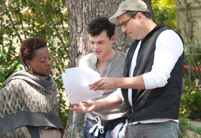 Viola and Alden on set with their director