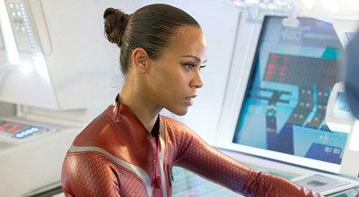 Uhura at her station on the bridge