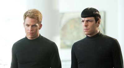 Kirk (Chris) and Spock (Zac) share a serious moment