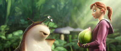 MK (Amanda Seyfried) encounters a slug named Mub (Aziz Ansari)