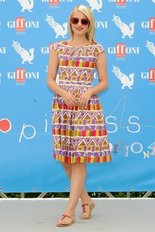Dianna Agron teams a pretty dress with flat sandals