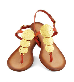 Modcloth gold coin sandals, $44.99