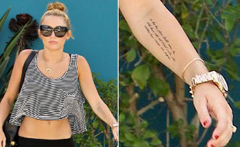 Miley has Abe Licoln's words penned on her