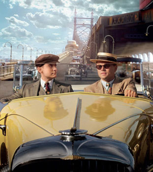 Nick and Gatsby in his famous yellow ride