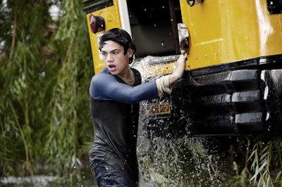 Dylan as young Clark saving his classmates