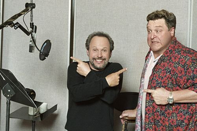 Billy and John in the sound recording booth