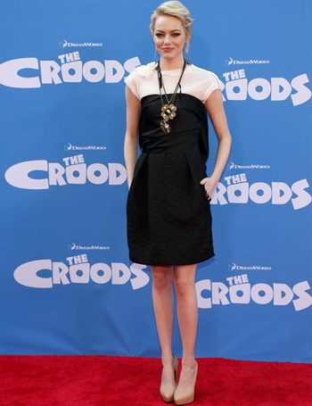 Emma at the Croods premiere in a t-shirt under a dress