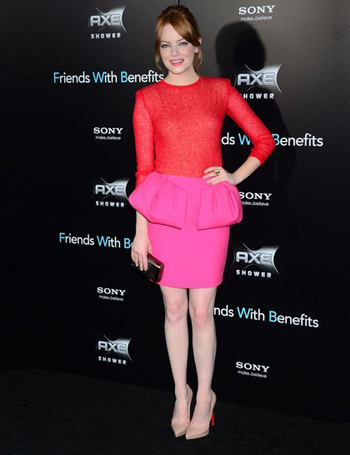 Emma Stone makes pink and red work