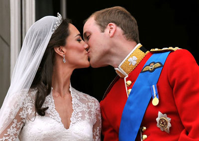 Their first kiss as a married couple, and Kate's first kiss as The Duchess!