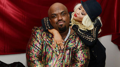 CeeLo and Christina in colorful outfits