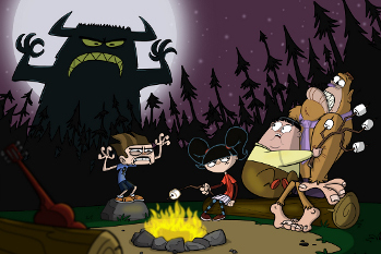 You never know what's behind you at Camp Lakebottom!