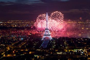 Fireworks near the Eiffel Tower