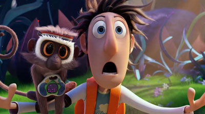 Flint (Bill Hader) with pet Steve the Monkey (Neil Patrick Harris)