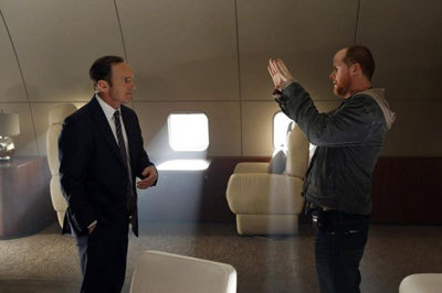 Joss Whedon on set with Clark Gregg