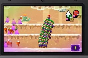 Mario rides a stack of Luiginoids!
