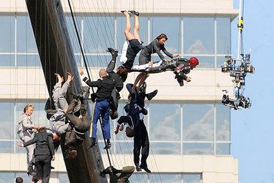 Skydiving stunt team on wires