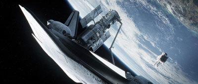 Astronaut Kowalski floating near the Hubble Telescope