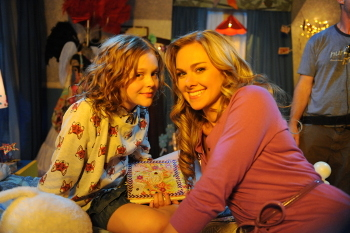 Emily Alyn Lind and Laura Bell Bundy take a  break from filming DDD