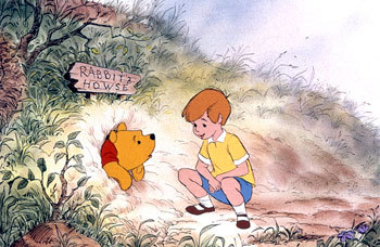 Pooh in Rabbit's Howse