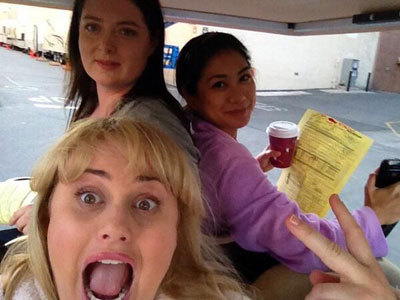 Rebel and the roomies on set