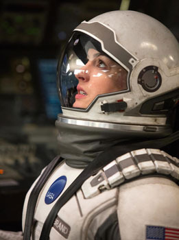 Amelia (Anne Hathaway) looks to the stars and wonders