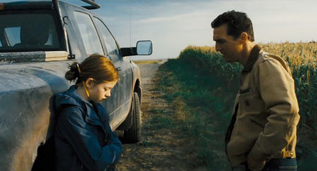 Cooper tells daughter (Mackenzie Foy) why he has to go to space