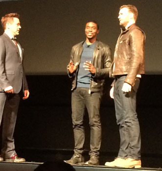 Robert Downey Jr. and Chris Evans are joined by the new Black Panther Chadwick Boseman!