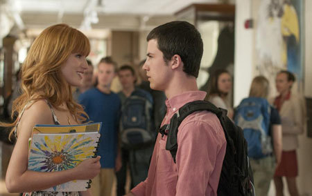 Celia (Bella Thorne) and Anthony (Dylan Minnette) discuss prom
