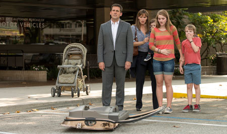 The family with their car door at their feet