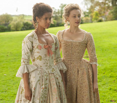 Sarah (on right) in corset in Belle with Gugu Mbatha-Raw