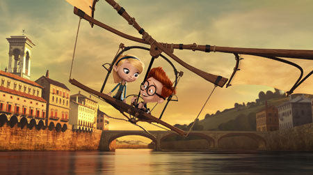 Penny and Sherman use Da Vinci's  flying machine